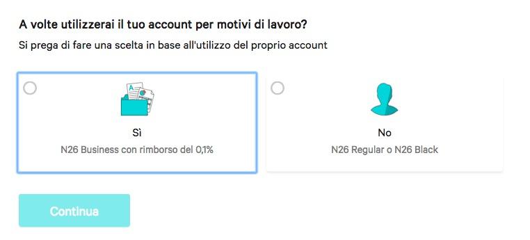 N26 - conto corrente zero spese. business o privato